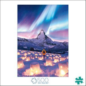 Beautiful 500 Piece Puzzle Mountains and Aurora